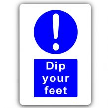 Dip Your Feet-Aluminium Metal Sign-150mmx100mm-Door,Notice,Health,Safety,Contamination,Water,Clean